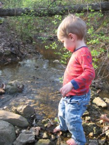 Colby looks at creek