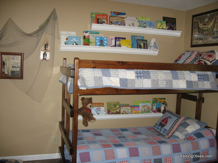 rain gutter book shelves boys room