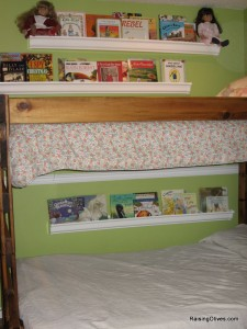 rain gutter book shelves girls room