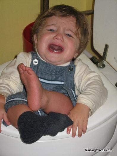 Nicholas in toilet Close