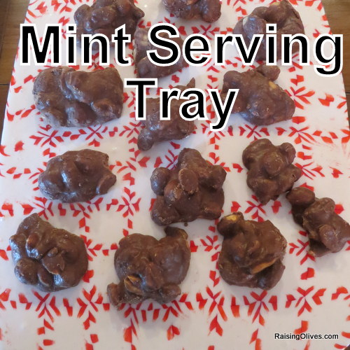 Mint candy serving tray peanut clusters