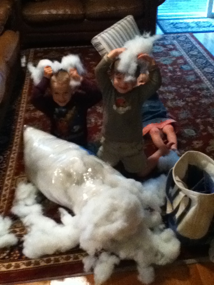 Colby (5) and Nick (4) being snowmen with a bag of stuffing.