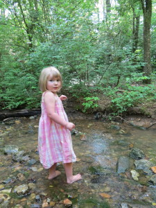 Bella (2) wading in the creek in our back yard