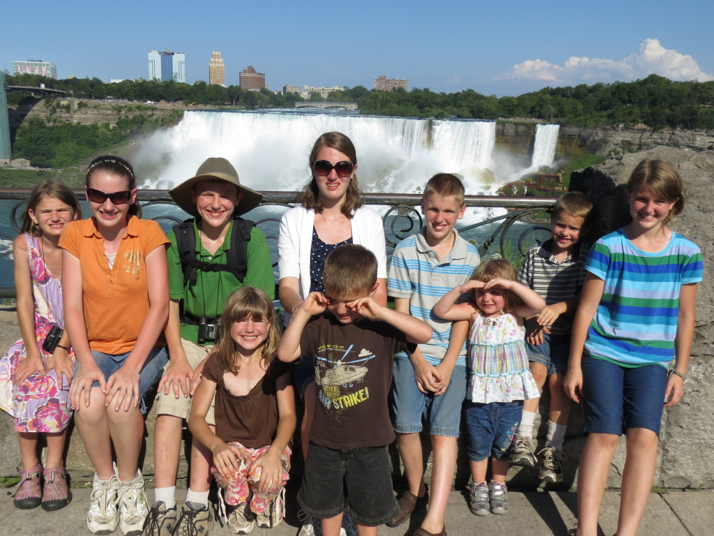 The kids at Niagra Falls, Canada Back Row: Sadie (9), Kaitlin (15), Matthew (14), Amber (16), Carter (11), Bella (3), Colby (6), Alyssa (12) Front Row: Savannah (8), Nicholas (5)