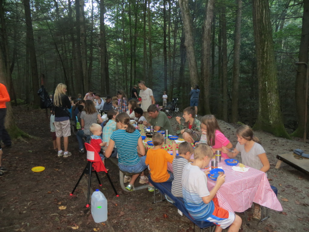 Just a portion of the families who gathered for our annual family campout.
