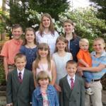 Tallest to shortest: Amber (17), Kaitlin (16), Matthew (14), Alyssa (13), Carter (12), Sadie (10), Savannah (9), Colby (7), Nicholas (6), Isabella (3), Valor (1)