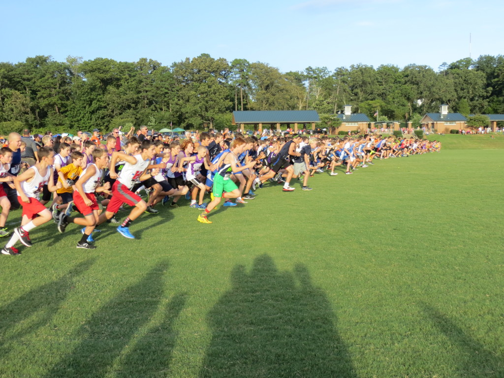 middle school boy cross country race