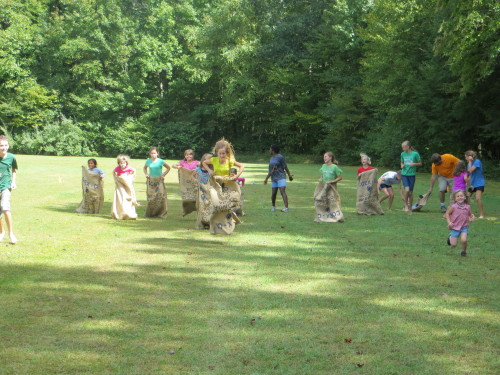 Elementary and middle school girls sack race